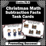 Subtraction with Pictures Task Cards for Kindergarten Christmas Math Centers