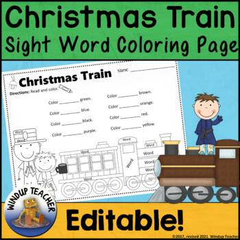 Polar Express Themed Sight Word Activity Sheet  *Editable*
