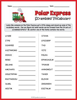 Polar Express Vocabulary Word Scramble
