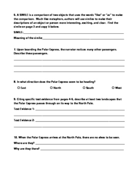 Polar Express Vocabulary and Comprehension Worksheets
