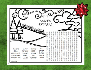 The Santa Express Word Search and Coloring Page