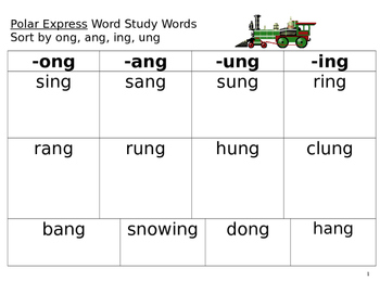 Polar Express Word Study Words-ang, ung, ing, ong *EDITABLE
