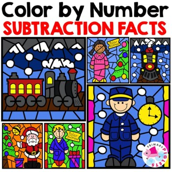 Polar Express Color by Number | Christmas Color by Number | Subtraction Facts