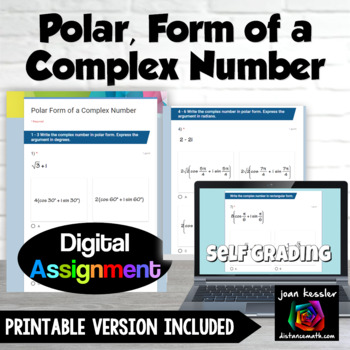 Polar Forms of Complex Numbers with Google™ Forms Quiz for PreCalculus Trig