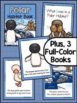 Polar Habitat Animals Emergent Readers (3 Levels) + Matching Full Color  Books