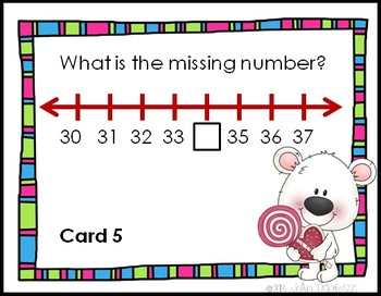 SCOOT Polar Pals Number Line- Valentine's - Find the Number, Add/Subtract task