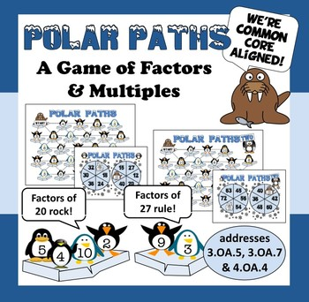 Polar Paths – factor & multiple math game – winter, penguin theme