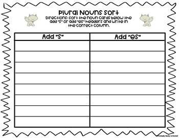 Polar Plurals: Winter Plural Nouns Sort & Write the Room (s, es, and ies)
