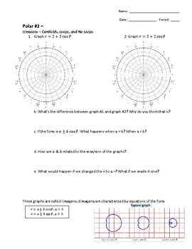 Polar Worksheet 2 of 3: Graphing Limacons with loops and no loops