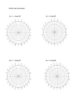 Polar Worksheet 3 of 3: Graphing Roses