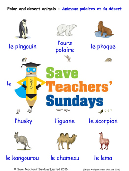 Polar and Desert Animals in French Worksheets, Games, Activities and Flash Cards