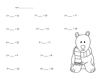 Polar bear and Penguin themed math practice pages