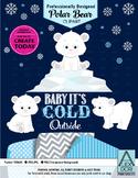Polar bear clipart cold clipart snow clipart navy blue and white