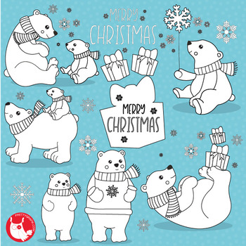 Polar bear stamps,  commercial use, vector graphics, images  - DS1048