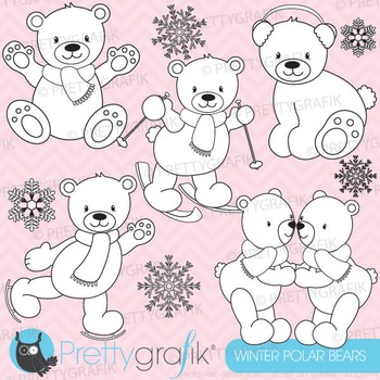 Polar bear stamps commercial use, vector graphics, images - DS626