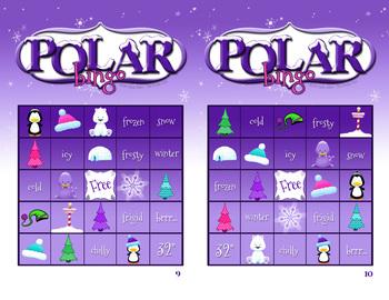 Winter Bingo - Polar images and Winter Words
