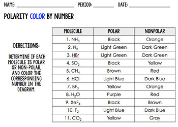 Polarity Worksheet and Color By Number