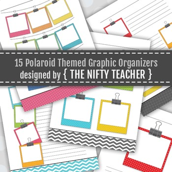 Polaroid Themed Colorful Graphic Organizers (5 layouts in multiple colors)