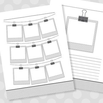 Polaroid Themed Graphic Organizers & Journal Layouts (For B&W Printing)