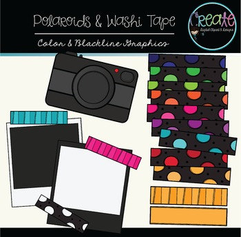 Polaroids & Washi Tapes Set #2 - Digital Clipart