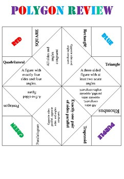 Polygon/Two-Dimensional Figure Cootie Catcher (Fortune Teller)
