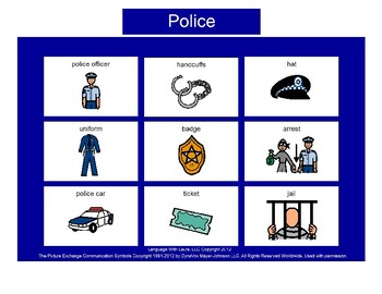 Police Bingo! Single Board [speech therapy and autism]