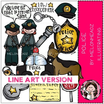 Police clip art - LINE ART- by Melonheadz