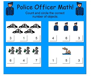 Police Officer Math Set (counting) for Early Childhood/Community Helpers