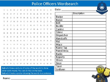 Police Officers Wordsearch Sheet Careers Jobs Starter Activity Keywords