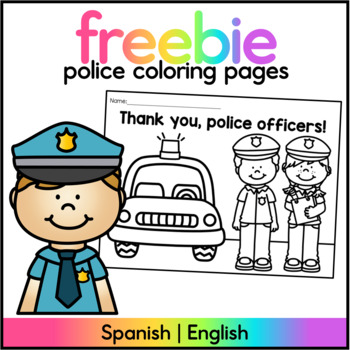 Police Support Coloring Sheet Freebie English/Spanish