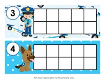 Police Ten Frame Cards