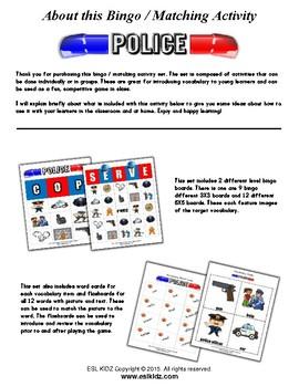 Police Themed Bingo / Matching Activities