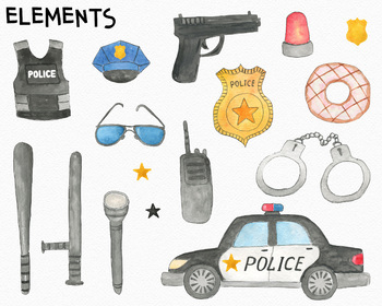 Police Watercolor Clipart Set