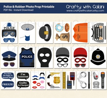 Police and Robbers Party Photo Booth Prop Printable