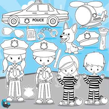 Police officer stamps commercial use, vector graphics, images  - DS964
