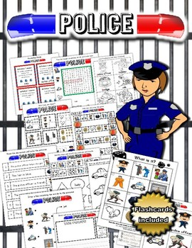 Police worksheet set / Activity packet with Flashcards