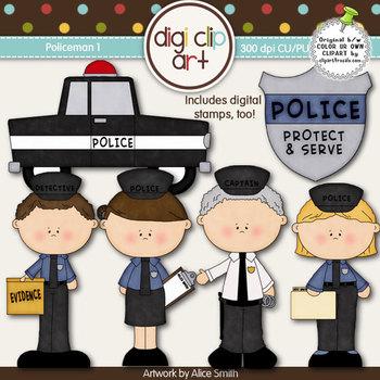 Policeman 1 -  Digi Clip Art/Digital Stamps - CU Clip Art