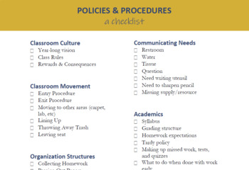 Policies & Procedures Brainstorming Checklist