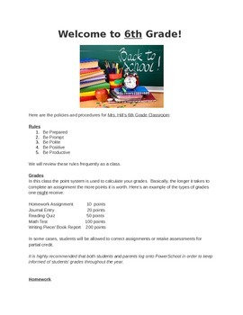 Policies and Procedures Letter for Students and Parents - First Day of School