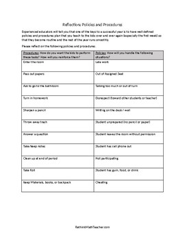 Policies and Procedures Reflection Worksheet for Teachers