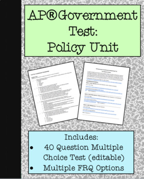 Policy Test- Economic Policy Focus (For AP® Government course)