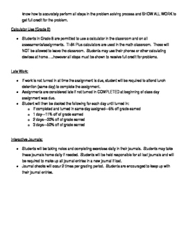 Policy and Procedures for Junior High Students