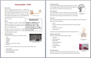 Polio - Science Reading Article - Grades 5-7