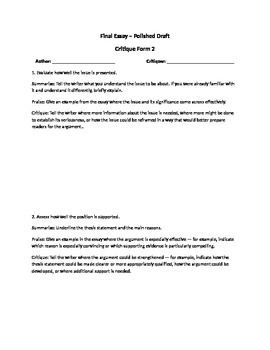 Polished Draft Critique Forms
