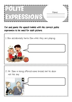 Polite Expressions Worksheets by Waves   Teachers Pay Teachers