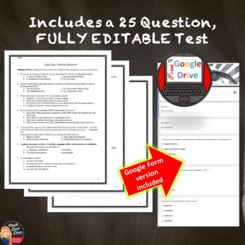 Political Behavior Unit TEST and Review Game (Civics) Editable