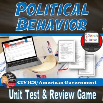 Political Behavior Unit TEST and Review Game (Civics) Editable