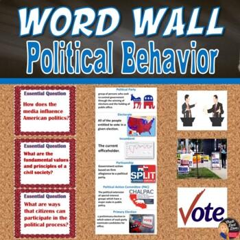 Political Behavior Vocabulary Word Wall Posters (Civics) - Grades 8-12