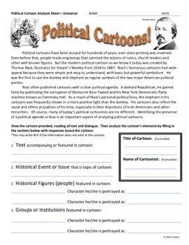 History U.S. or Government - Political Cartoon Analysis Activity Package