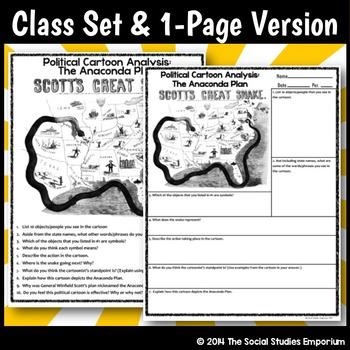 political cartoon analysis activity civil war anaconda plan tpt. Black Bedroom Furniture Sets. Home Design Ideas
